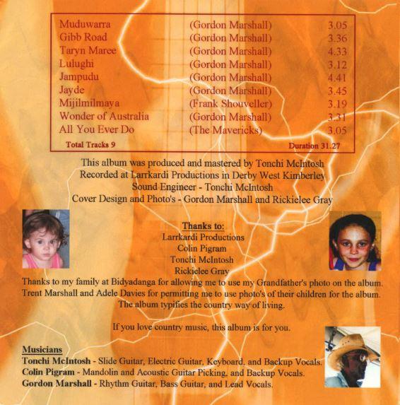 Gordon Marshall Rear Album Cover - Muduwarra